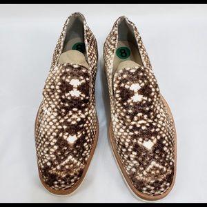 Free People Brown Velvet Snake Eye Print Loafers
